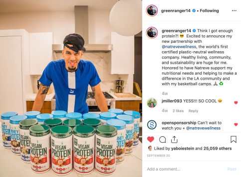 September 2019: Launch of a long-term partnership between Danny Green of the Los Angeles Lakers & wellness brand Natreve.